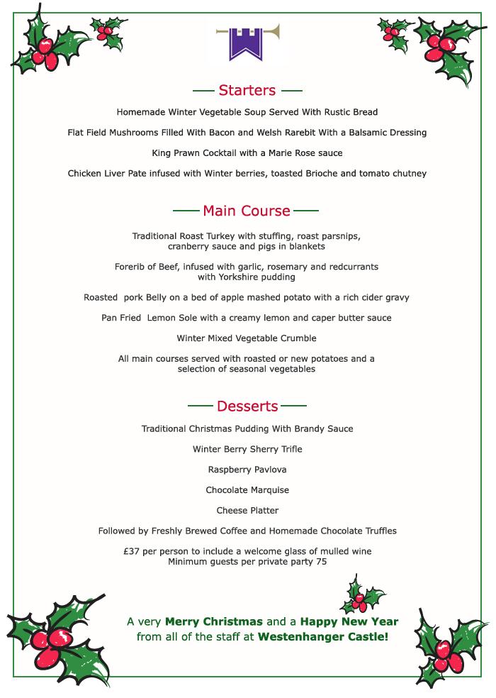 Christmas dinner menu ideas for Ideas for dinner menu
